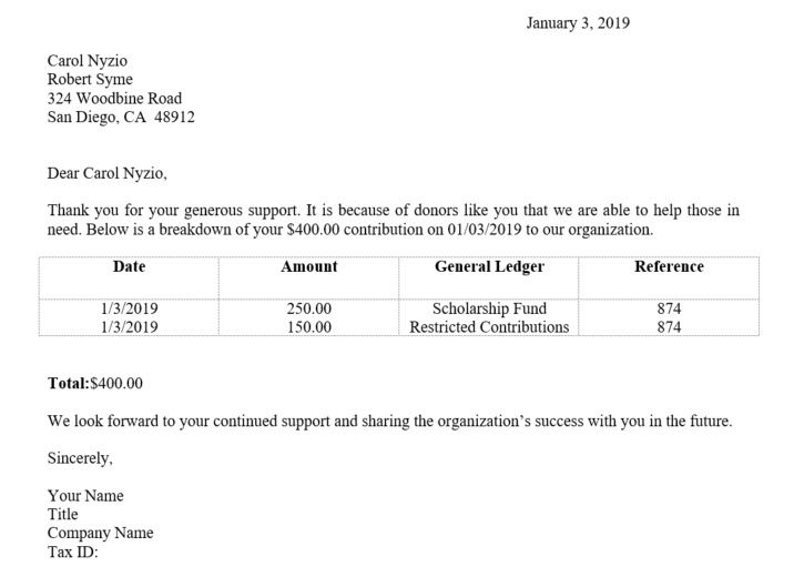 Gift Letter Example.Generating Receipts For Split Gifts Letters